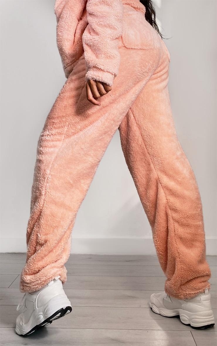 Light Pink Borg High Waist Straight Leg Joggers 3