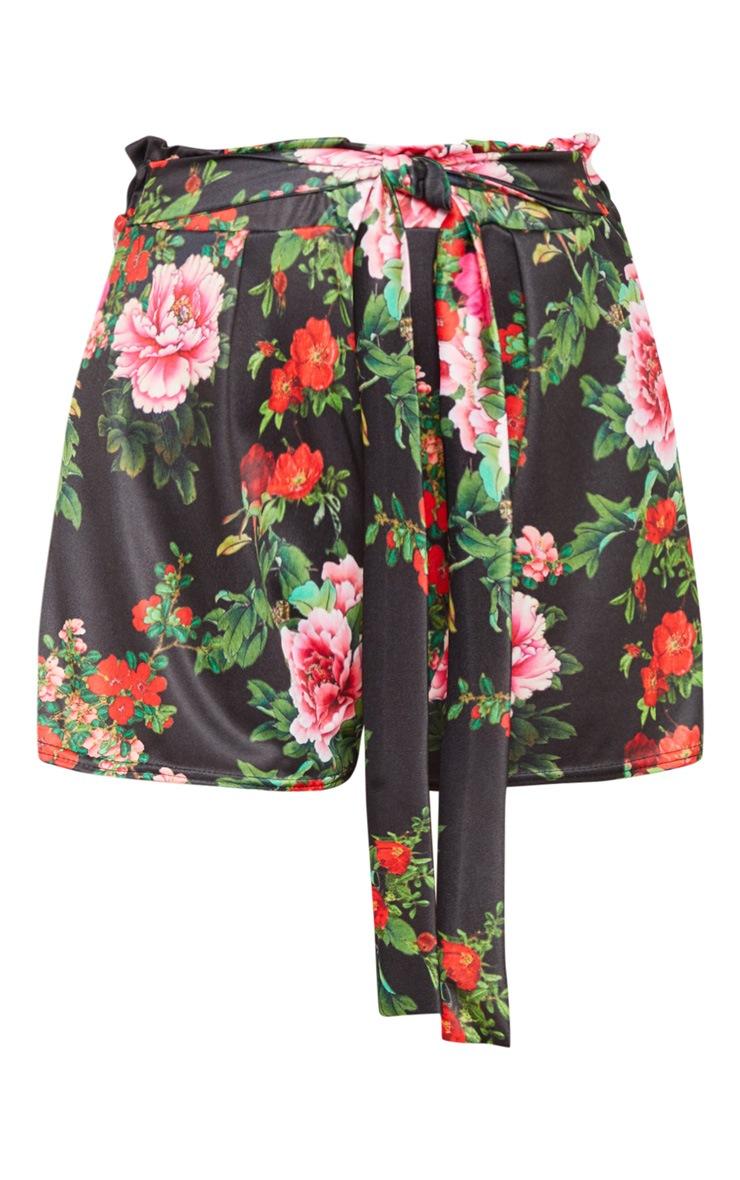 Black Floral Print Ruched Tie Waist Short 3