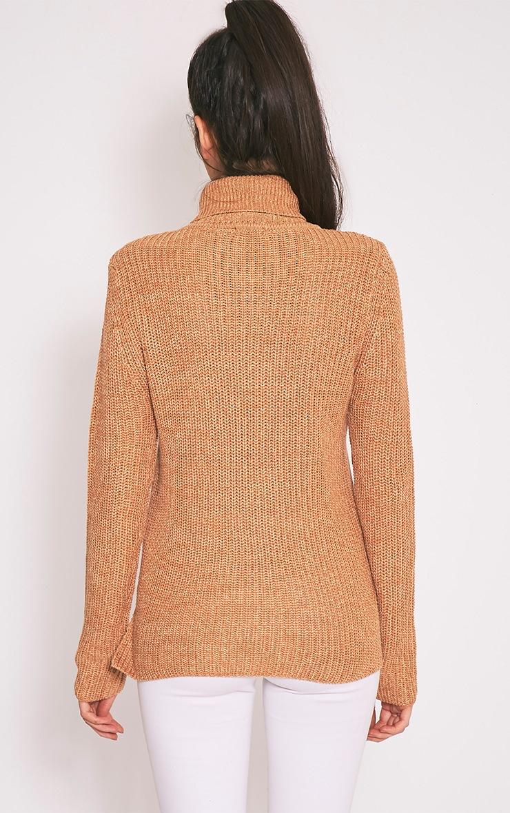 Soraya pull tricoté à col roulé brun 2