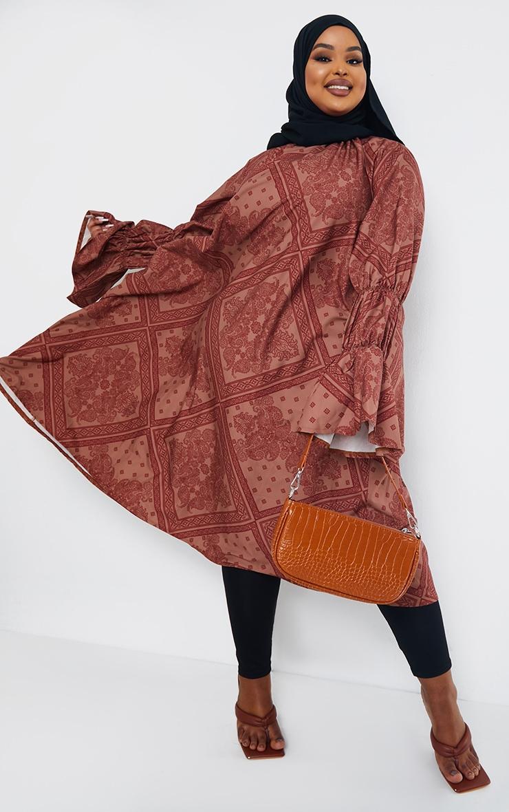 Plus Rust Printed High Neck Puff Sleeve Dress 1