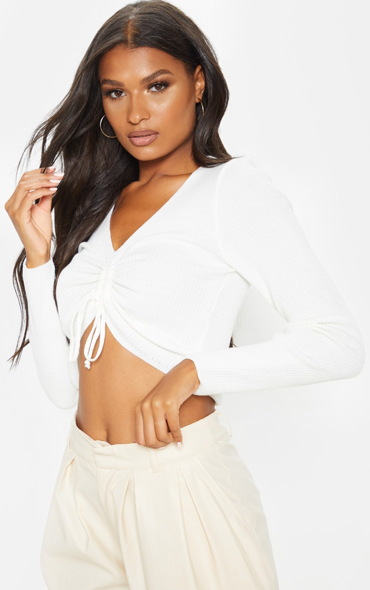 Cream Ribbed Knitted Ruched Detail Top  1