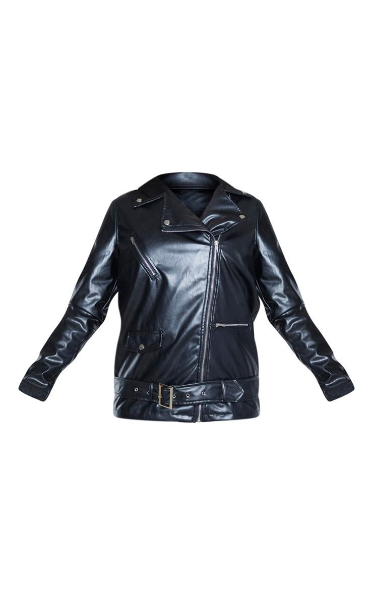 Tall Black Oversized Longline PU Biker Jacket  3
