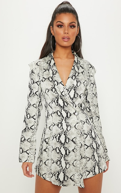 99be81018c4 White Snake Print Woven Blazer Playsuit. More colours available