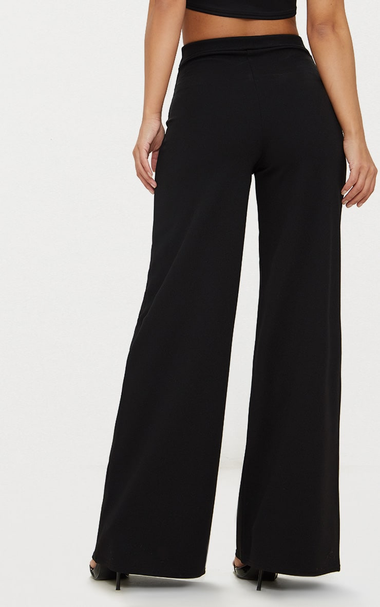Petite Black Pleat Front Wide Leg Trousers 4