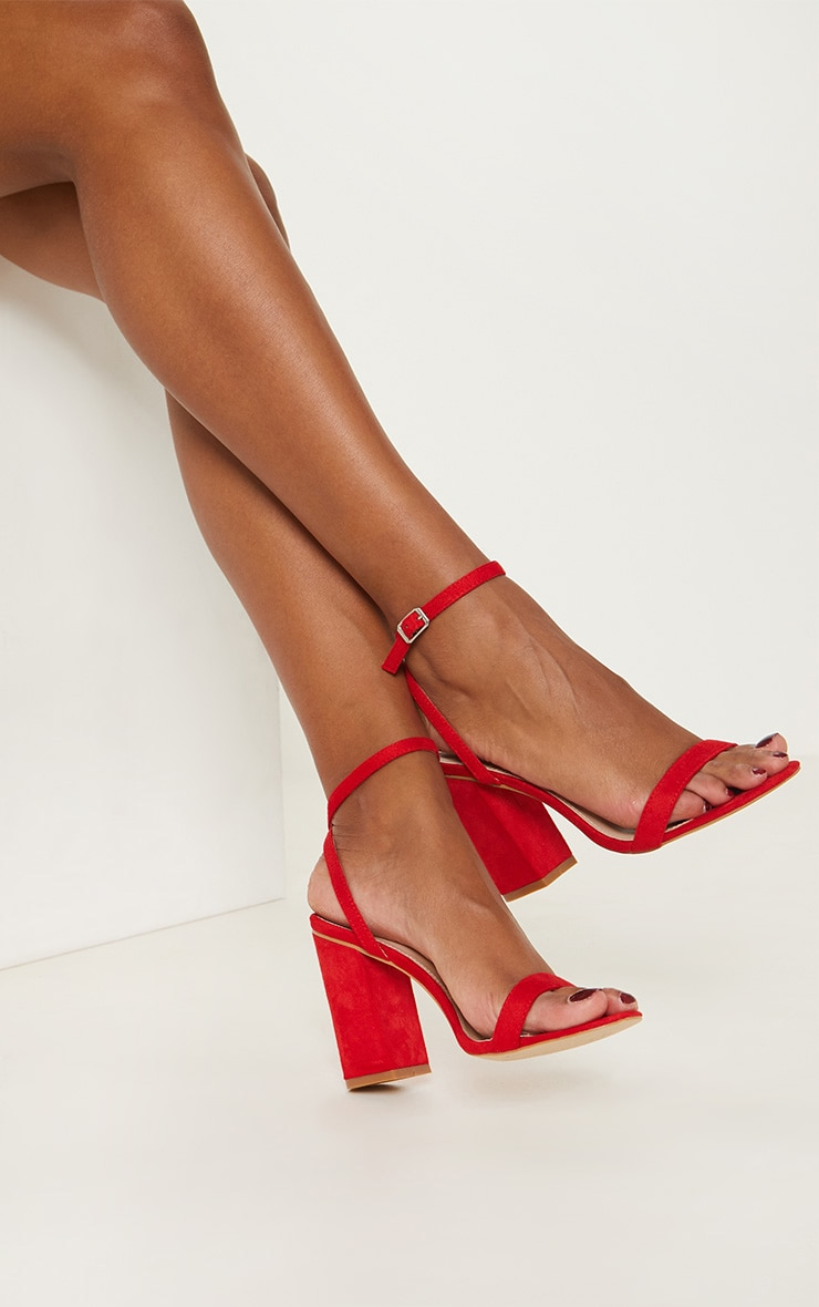 Red Ankle Strap Block Heel 2