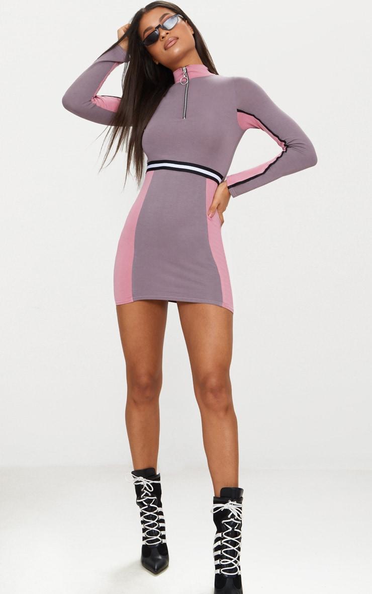 Dark Mauve Sports Stripe Zip Detail Dress 4