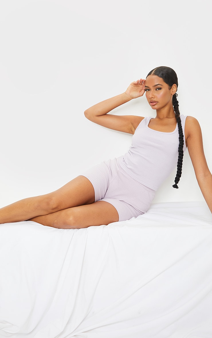 Lilac Structured Rib Racer Vest 3