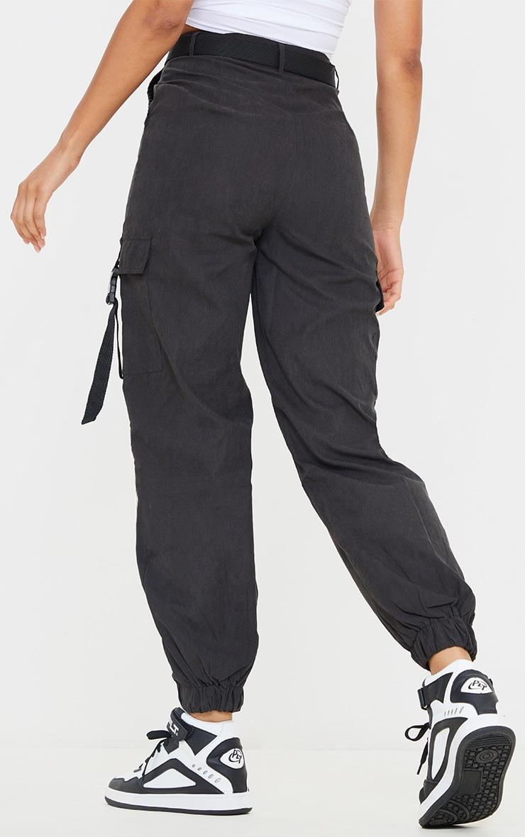 Black Buckle Detail Belted Cargo Pants 3