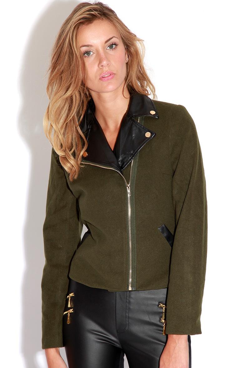 Jessica Khaki Biker Jacket 5