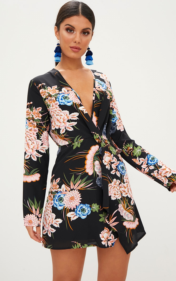 Black Floral Long Sleeve Wrap Dress 1