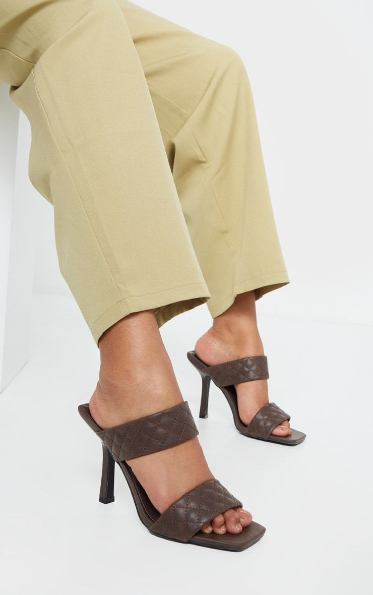 Chocolate Twin Strap Quilted Mule Heels 1