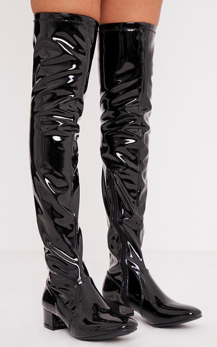 Esmay Black Patent Thigh High Boots 2