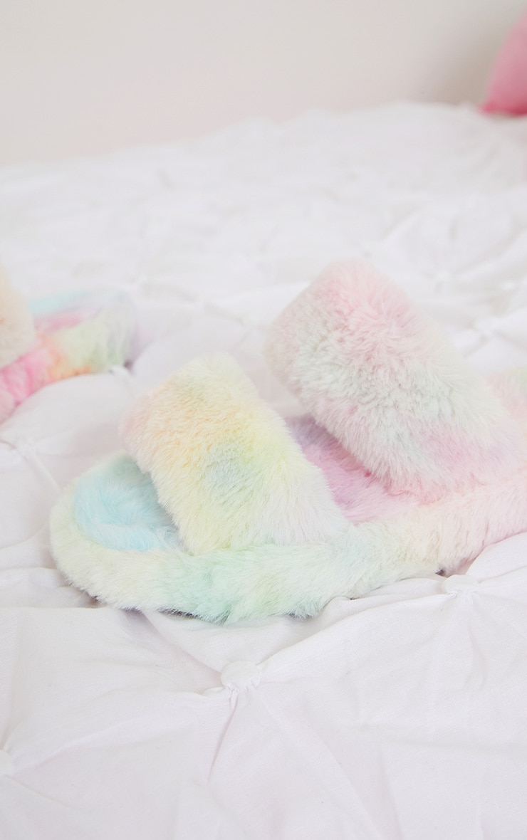 Multi Fluffy Two Strap Chunky Slippers 4