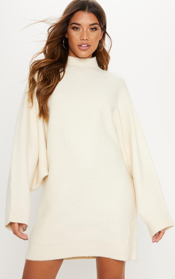Cream Oversized Jumper Dress  1