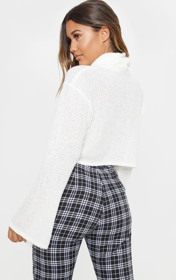 Cream Knitted Roll Neck Cropped Sweater 2