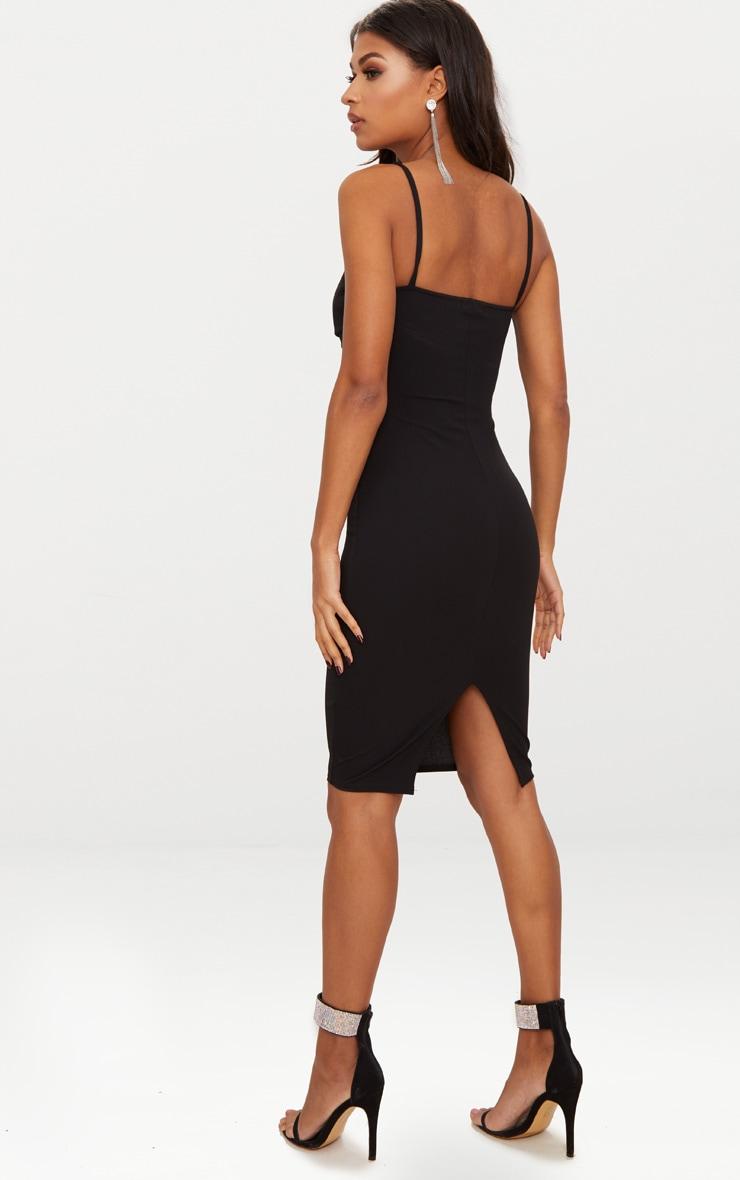 Black Strappy Bow Detail Midi Dress 2