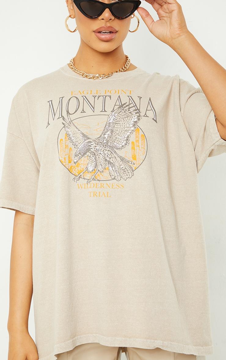 Sand Montana Logo Oversized Washed T Shirt 4