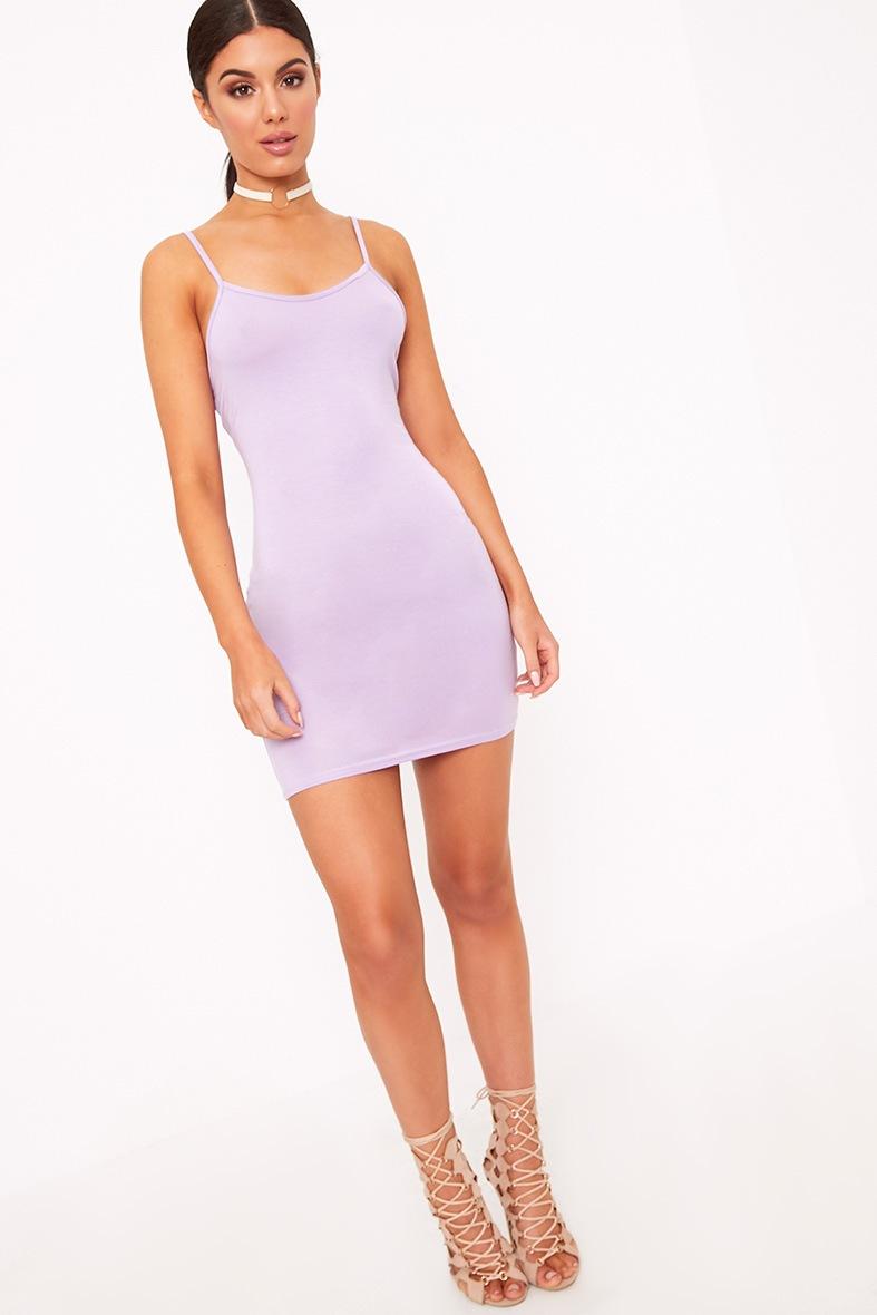 Lilac Basic Strappy Bodycon Dress 4