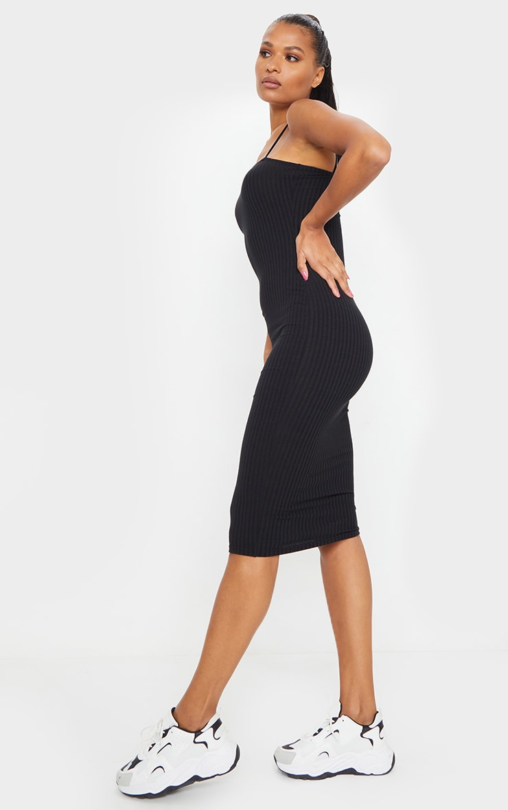 Black Ribbed Strappy Midi Dress 3