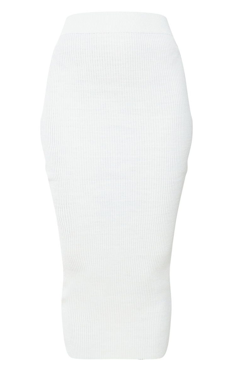 Cream Ribbed Knitted Midaxi Skirt 5