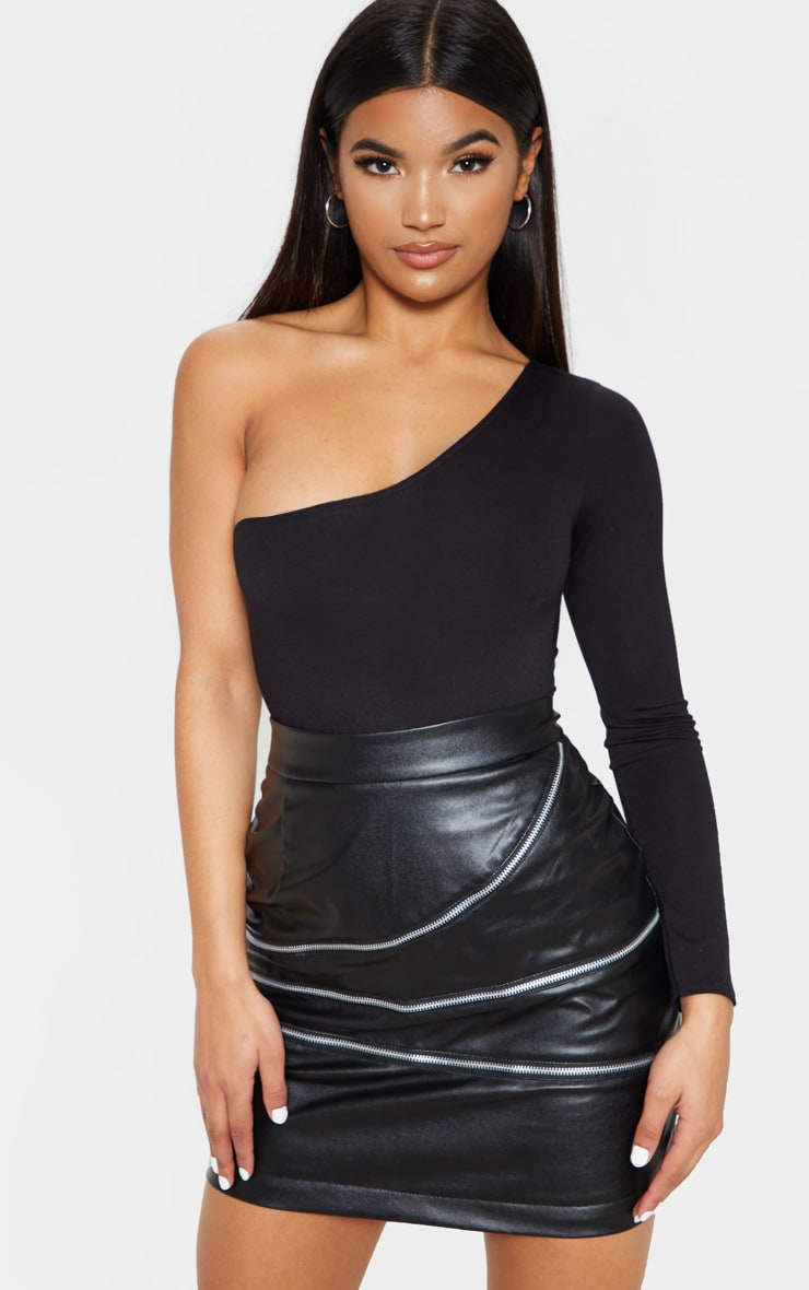 Black Faux Leather Zip Detailed Mini Skirt image 1 a7e560300