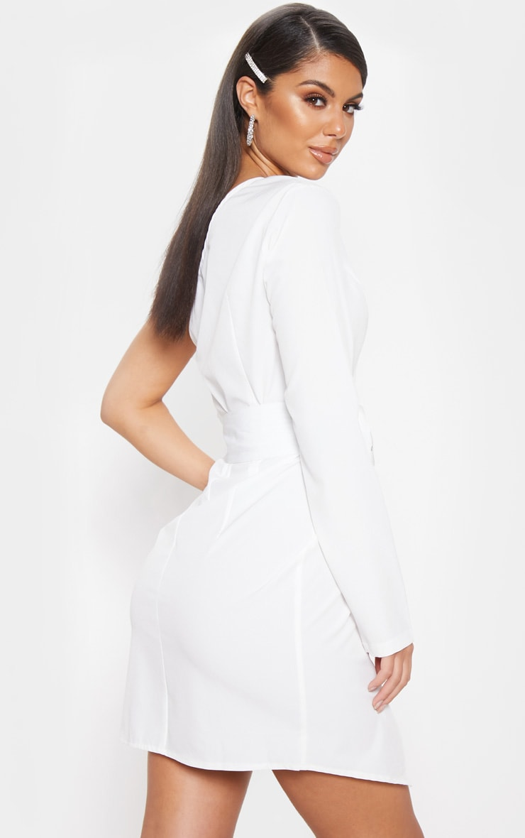 White One Shoulder Belted Bodycon Dress 2