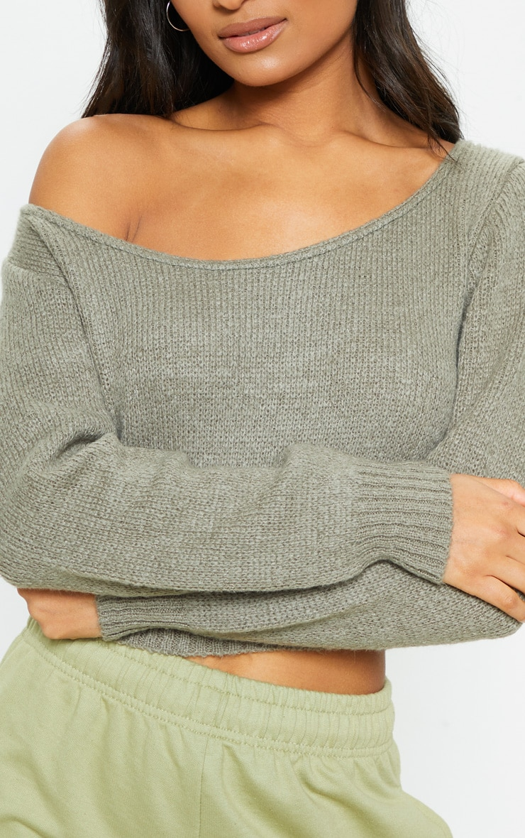 Khaki V Neck Off Shoulder Soft Knitted Crop Jumper 5