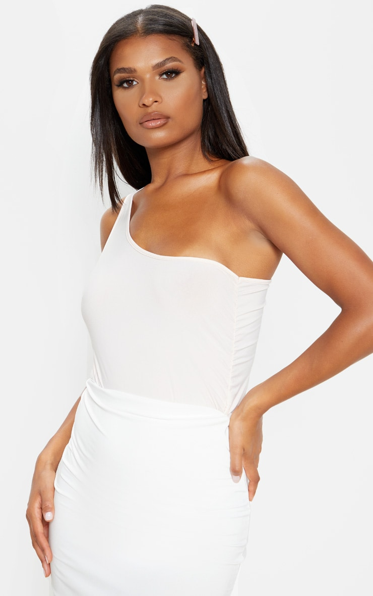 Nude Slinky One Shoulder Ruched Side Bodysuit 1