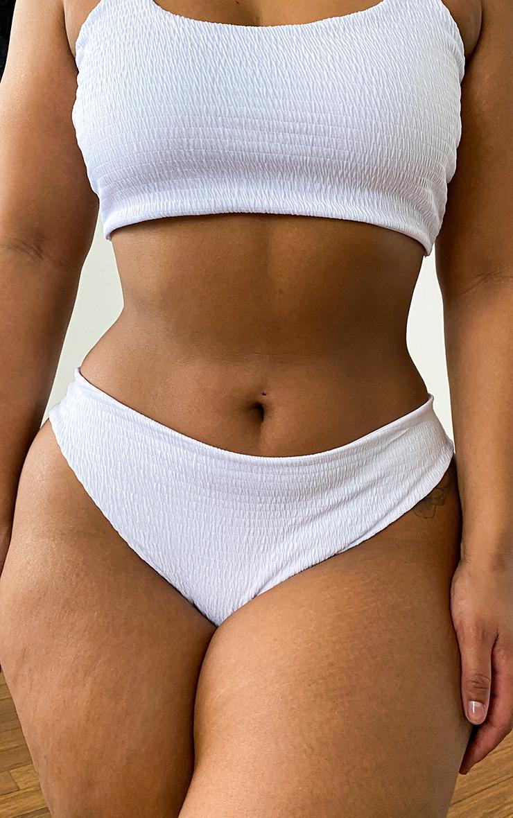 Plus White Crinkle V Front Bikini Bottoms 1