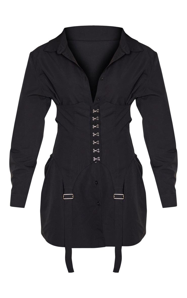 Black Hook & Eye Suspender Corset Detail Shirt Dress 3