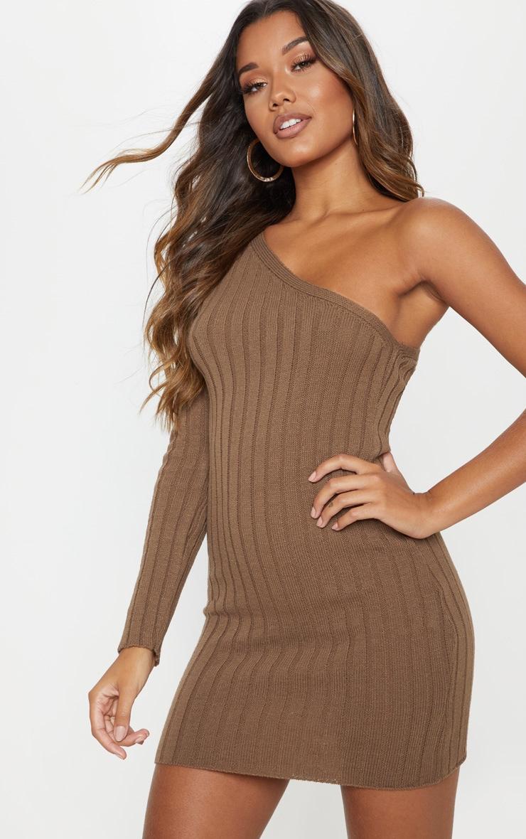 Taupe Asymmetric Knitted Rib Dress 1