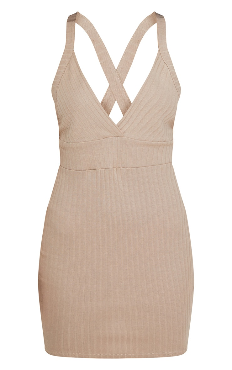 Stone Strappy Plunge Ribbed Bodycon Dress 3