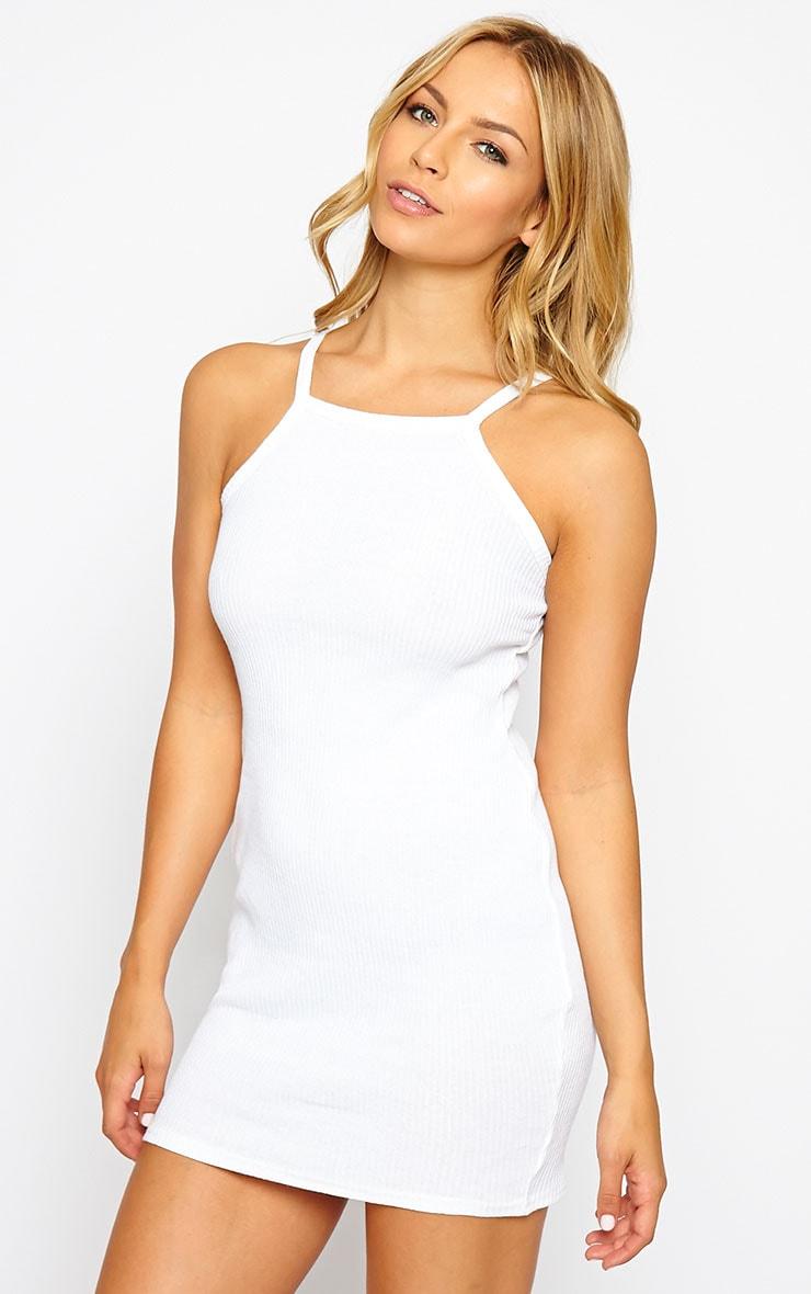 Zahra White Racer Ribbed Mini Dress 1