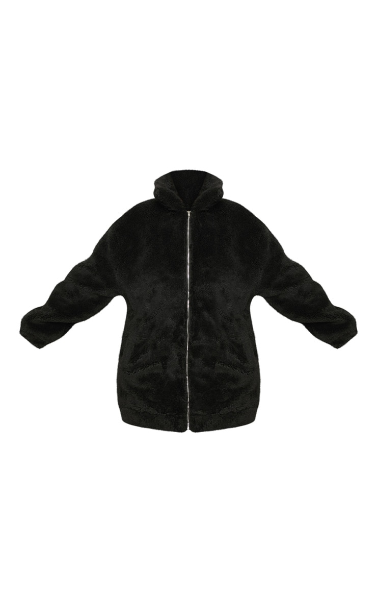 Plus Black Teddy Bomber Coat 3