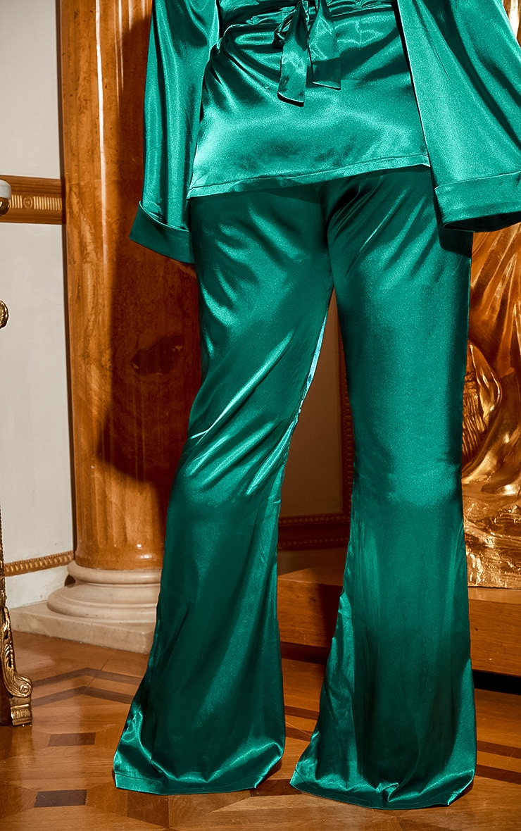 Plus Emerald Green Satin Wide Leg Trouser 5