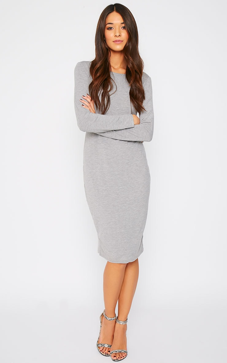 Amity Grey Long Sleeve Jersey Dress  3