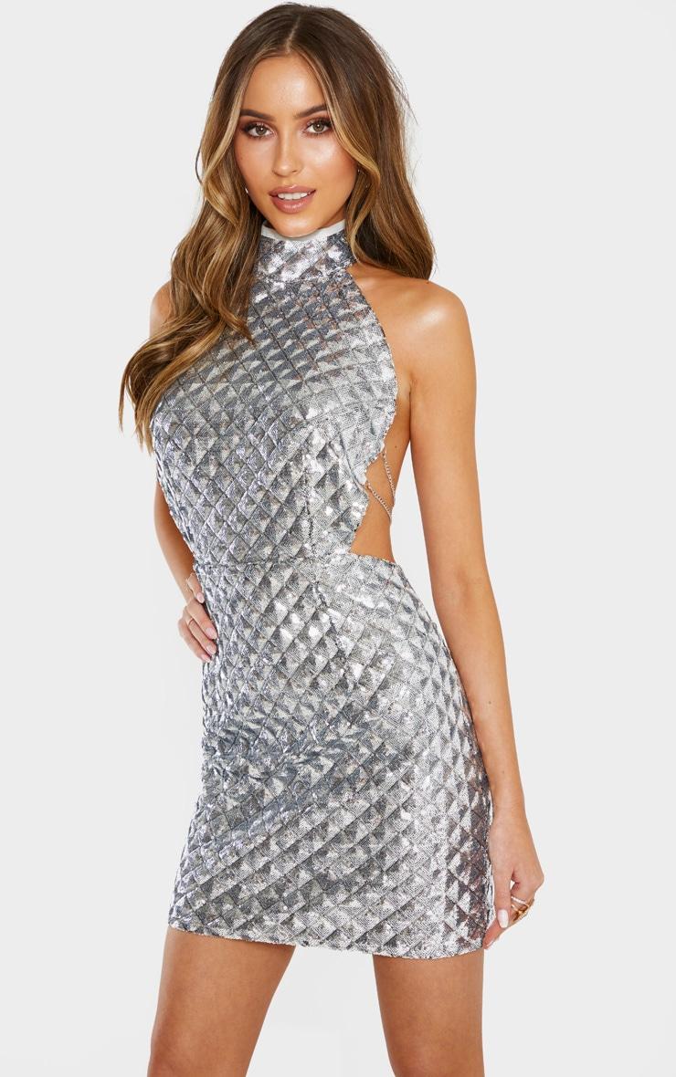Silver Diamond Sequin Chain Back Bodycon Dress  4