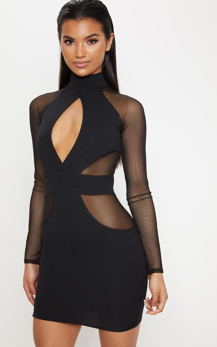 Black High Neck Keyhole Mesh Insert Bodycon Dress 1