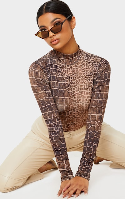 Brown Croc Printed Slinky High Neck Long Sleeve Top
