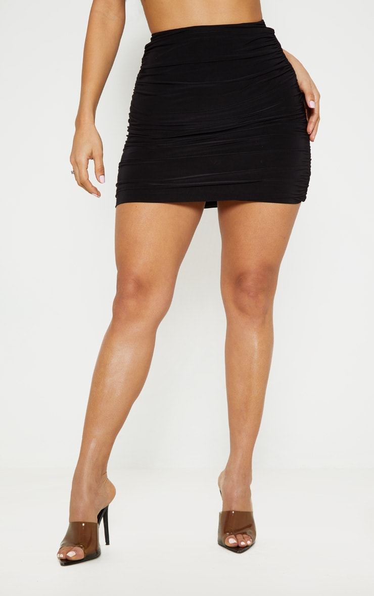 Black Slinky Ruched Side Mini Skirt 2