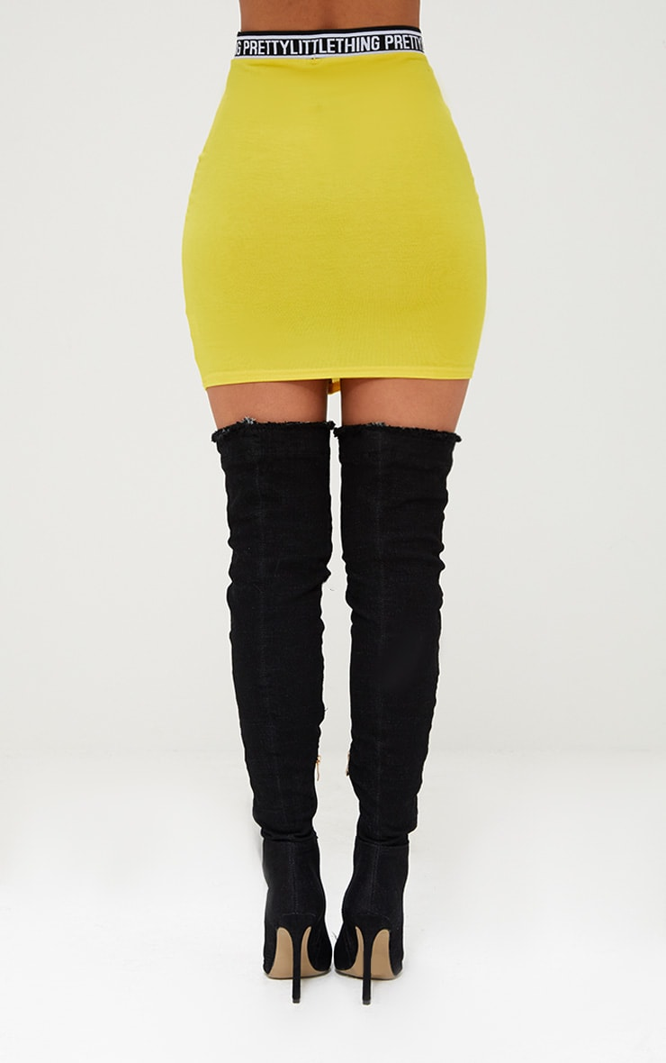 PRETTYLITTLETHING Bright Yellow Vertical Tape Mini Skirt 4