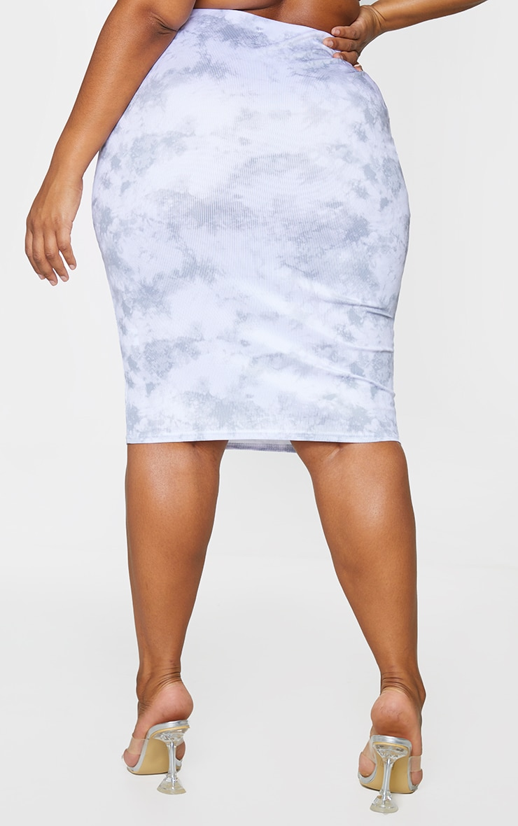 Plus Grey Tie Dye Rib Midi Skirt 3