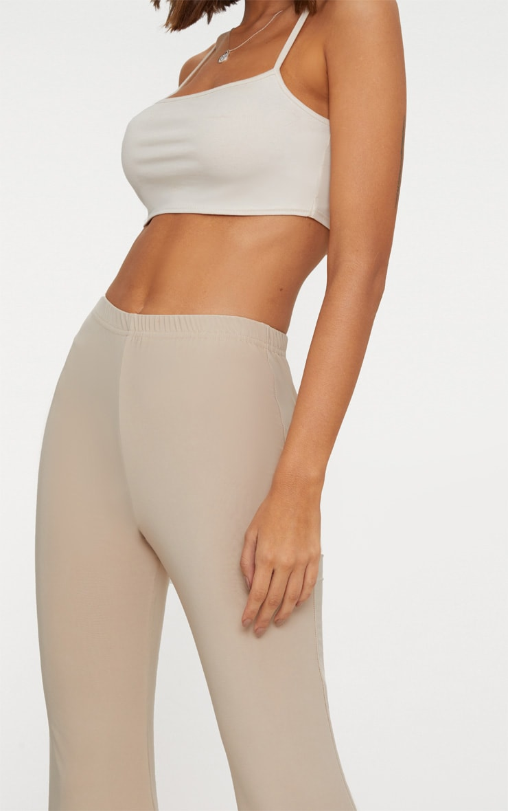 Taupe Slinky Double Layered Flared Trouser 5