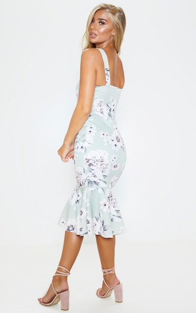 Sage Green Floral Print Square Neck Frill Hem Midi Dress