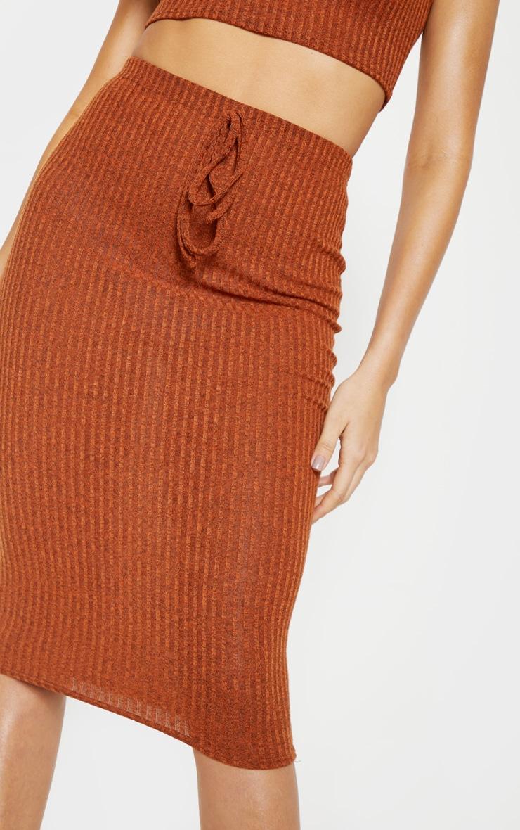 Orange Knitted Ribbed Midi Skirt  5