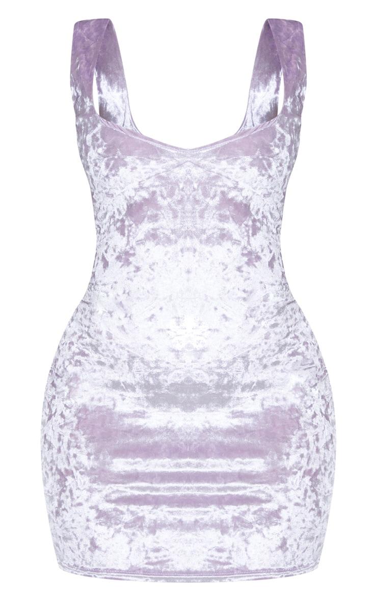 Shape Lilac Velvet V Neck Bodycon Dress 3