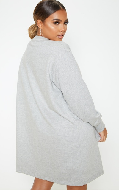 Grey Oversized Zip Pocket Front Jumper Dress
