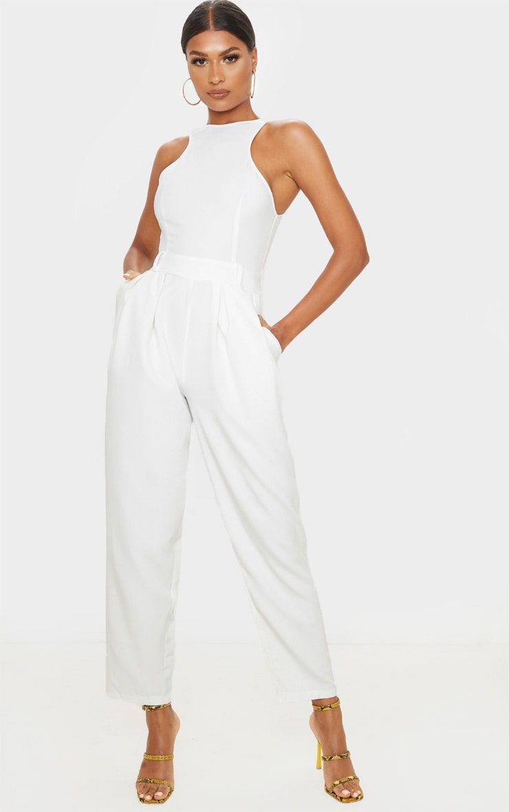 White Racer Back Pocket Detail Jumpsuit 1