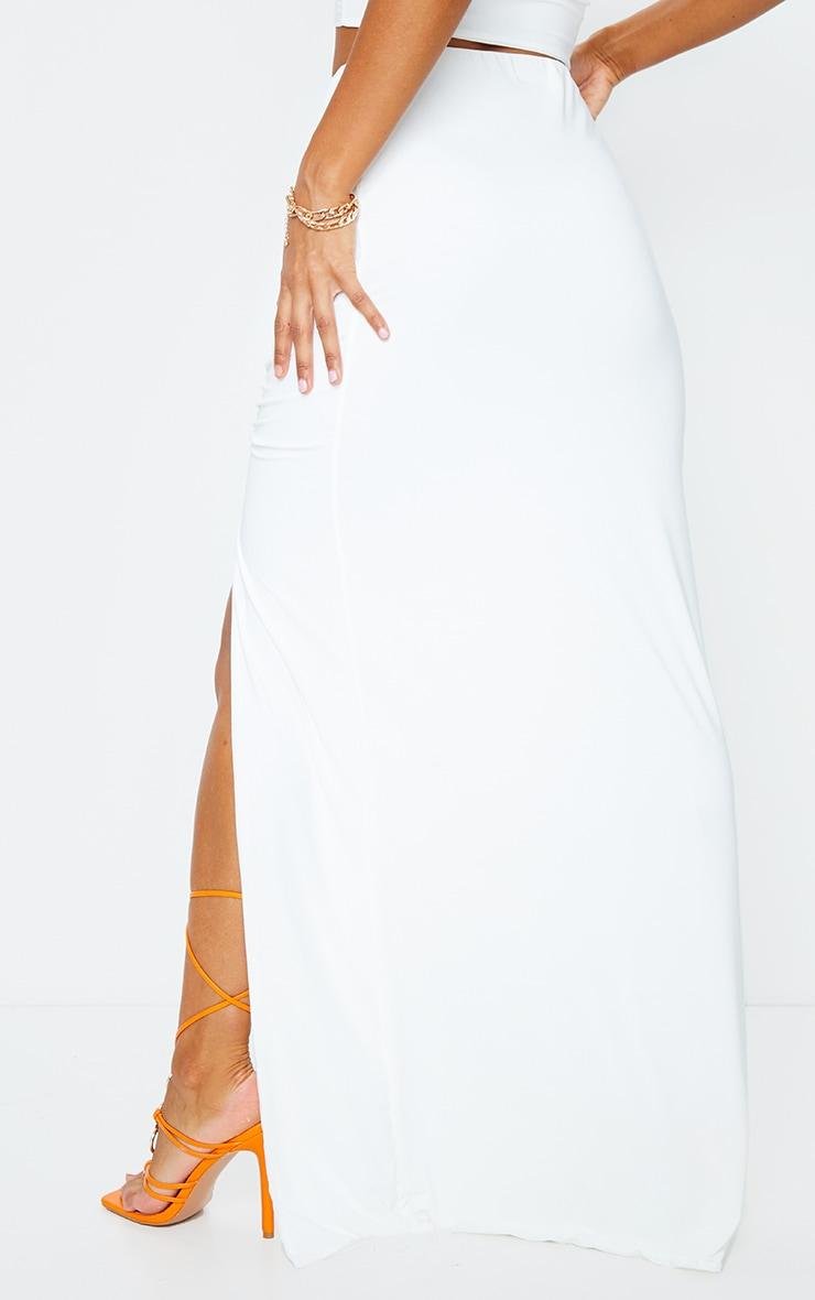 Cream Slinky Ruched Waist Maxi Skirt 3