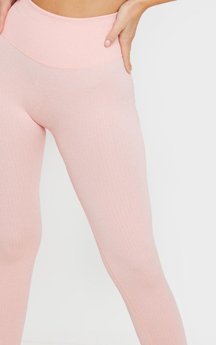 Peach Seamless Ribbed Sports Leggings 5
